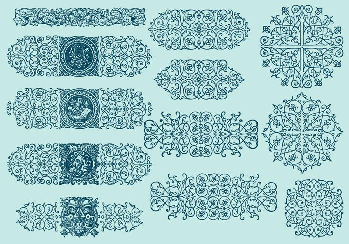 Line scrollwork dividers vector