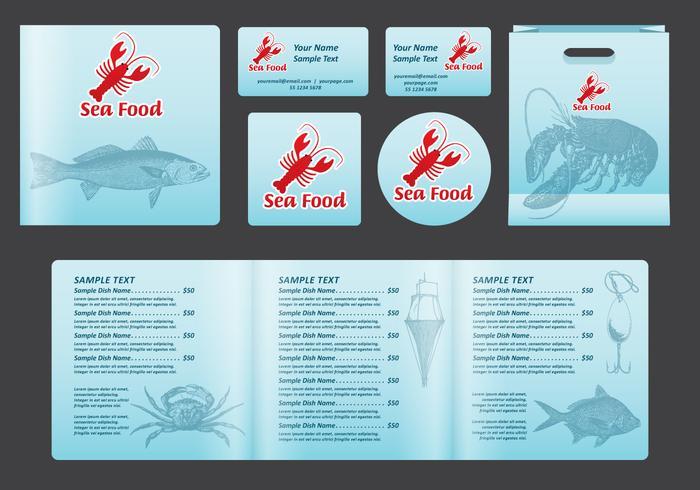 Visgerechten vierkante menu vector
