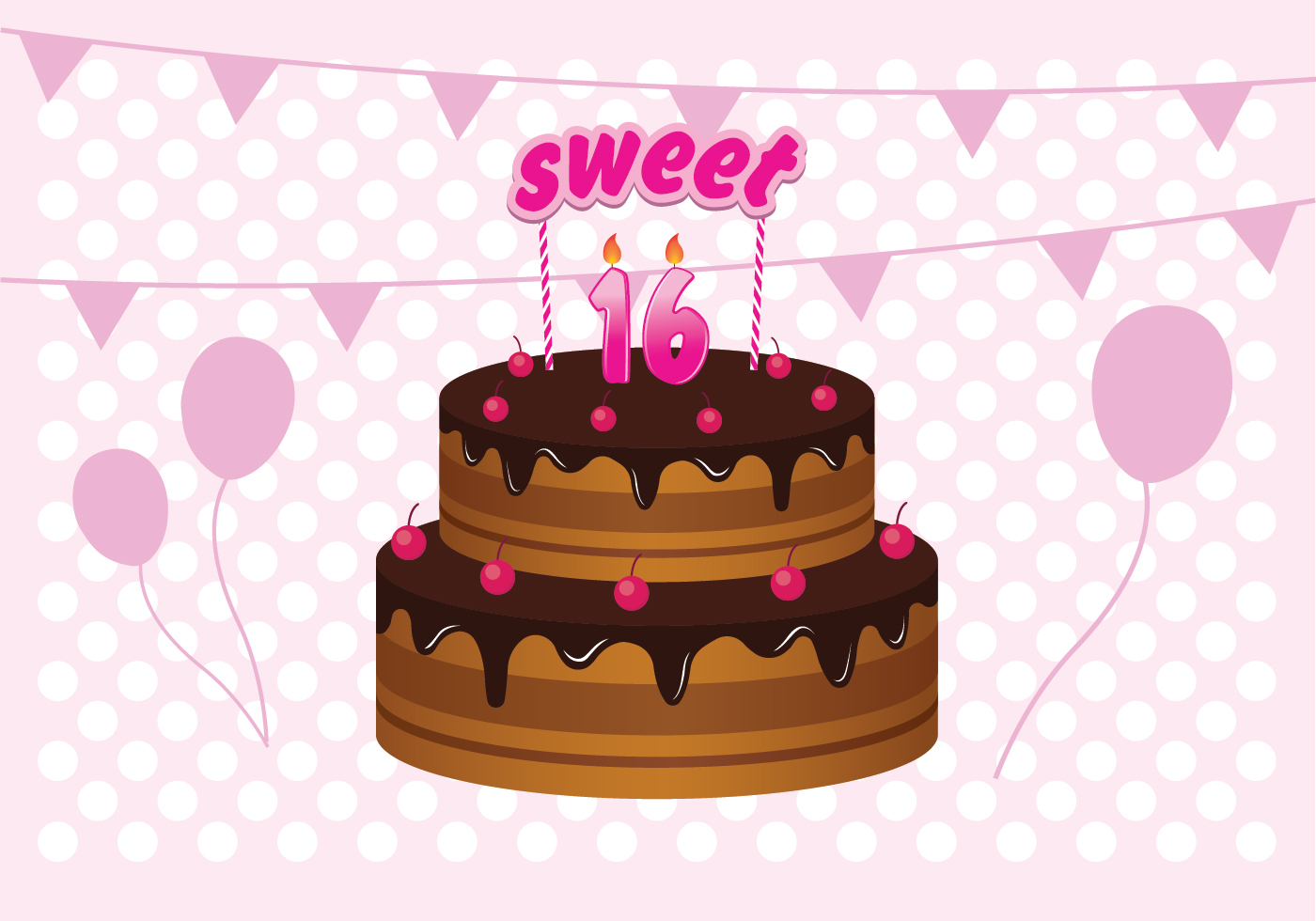 Sweet 16 Birthday Cake Illustration - Download Free Vector ...