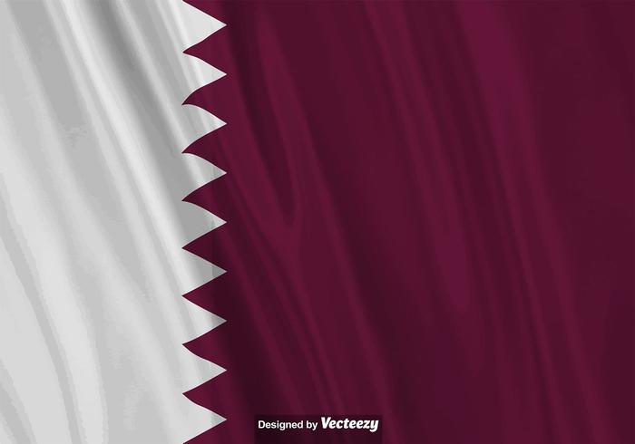 Vector Realistische Illustratie Van Qatar Vlag.