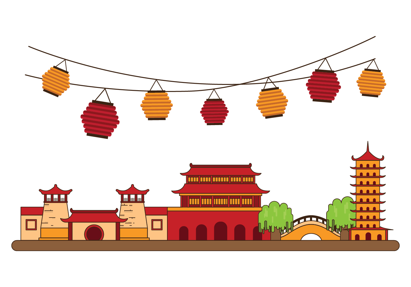 Free china town illustration download free vector art for Chinese vector