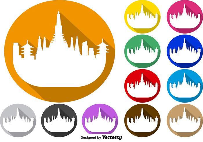 Vector Set Of Colorful Buttons Of Bangkok Skyline Icon