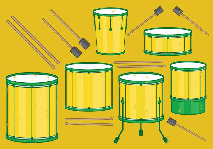 Samba Batucada Schlagzeug Set vektor