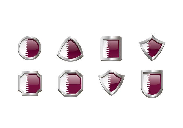 Qatar Flag Emblem Vector