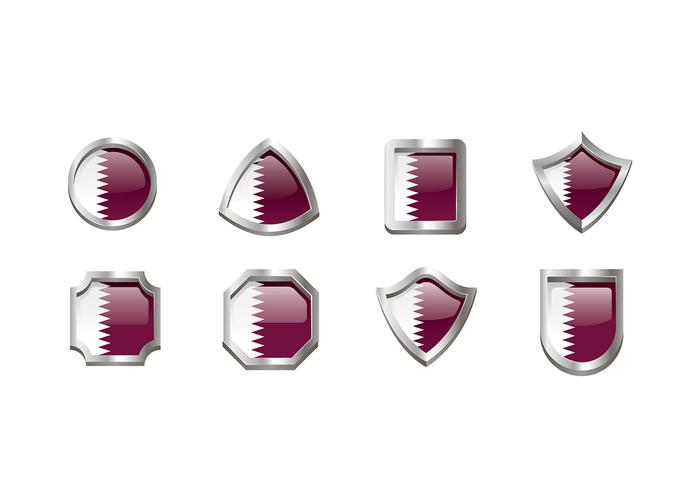 Qatar Vlag Embleem Vector