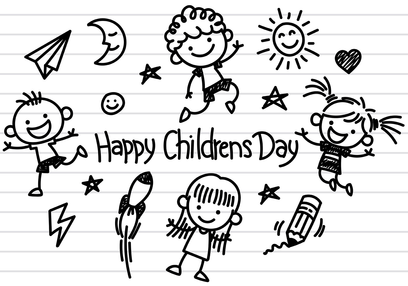 Vector Drawing Lines Kindergarten : Childrens day icons vector download free art
