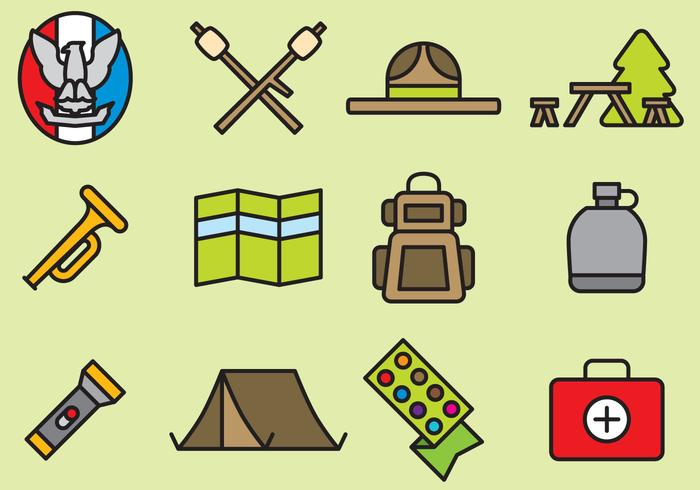 Leuke Boy Scout Icons vector