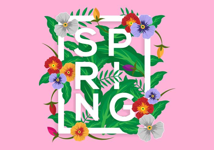 Free Floral Spring Illustration Vector with Pansy Flowers