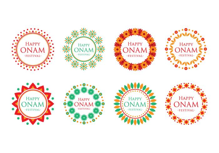 Free Onam Festival Text with Decorative Frame Vector