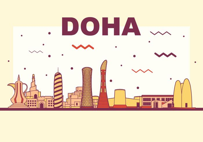 Doha vektor silhuett