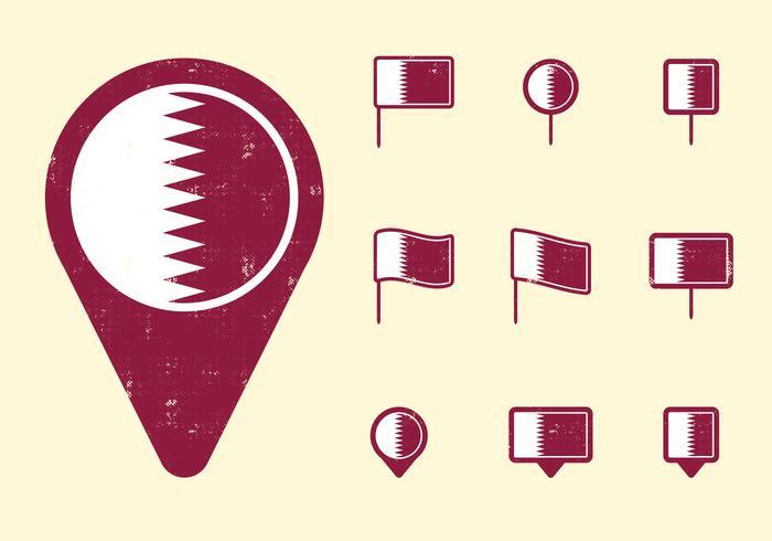 Qatar Flag and Pins