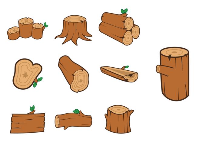 Pack de vetores de madeira