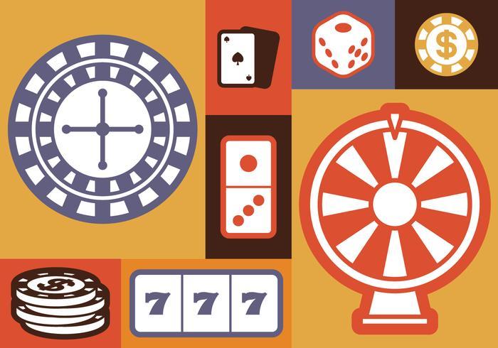 Gokken iconen instellen vector