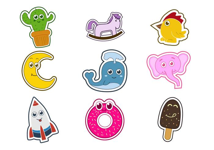 Cute Fun Fridge Magnet Character Vectors