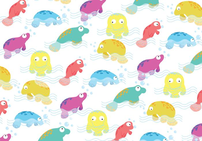 Manatee colorful Pattern Vector