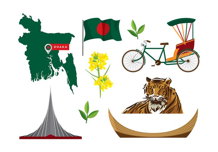 Bangladesh Map and Icon Vectors