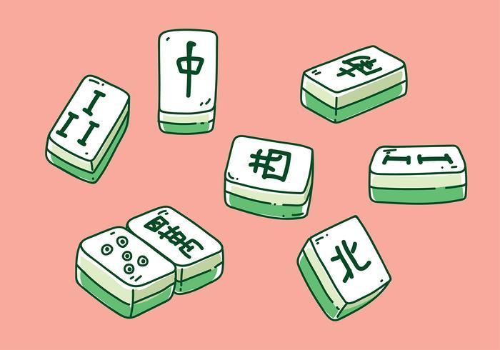 Mahjong Hand gezeichneter Vektor