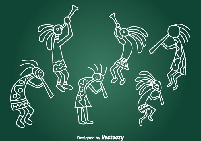 Hand getekende Kokopeli Collection Vector