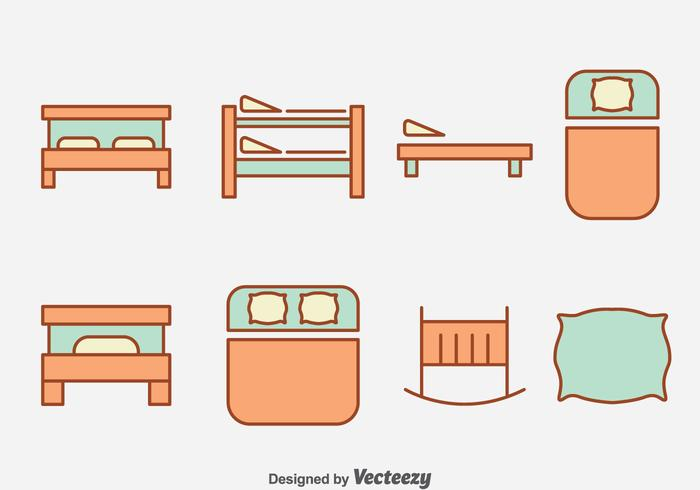 Sleeping Bed Collection Vector