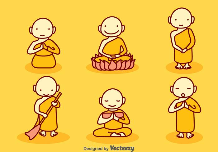 Handgetekende Cartoon Monk Vector Set