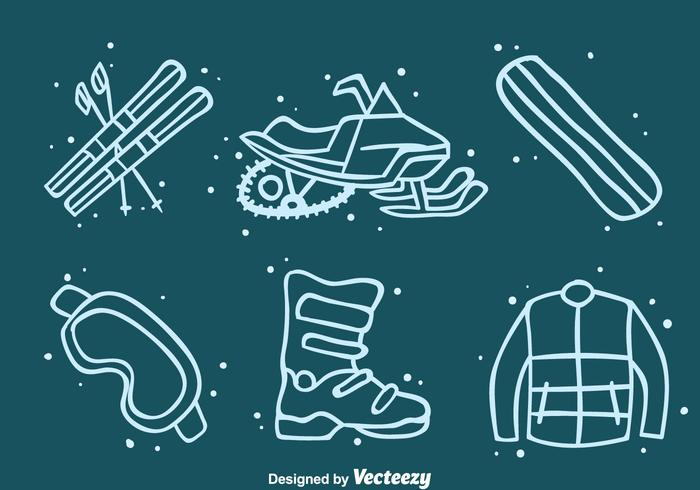 Winter Adventure Element Icons Vector