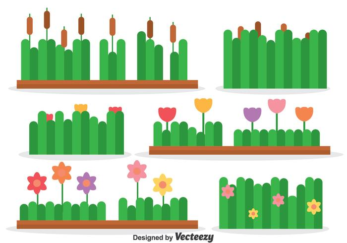 Reeds And Flowers Collection Vector