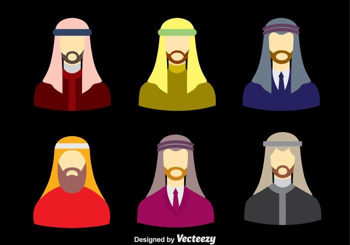 Arabic Men With Keffiyeh Vector Set