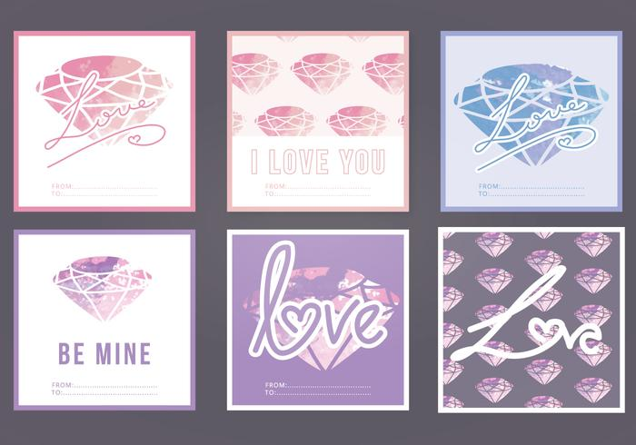 Vector Watercolor Love Cards