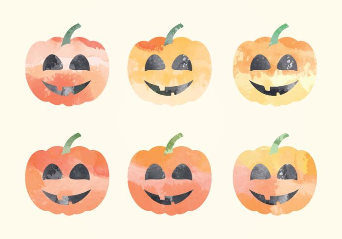 Vector Watercolor Pumpkins
