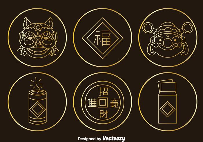 Chinese Culture Element Gold Icons Vector