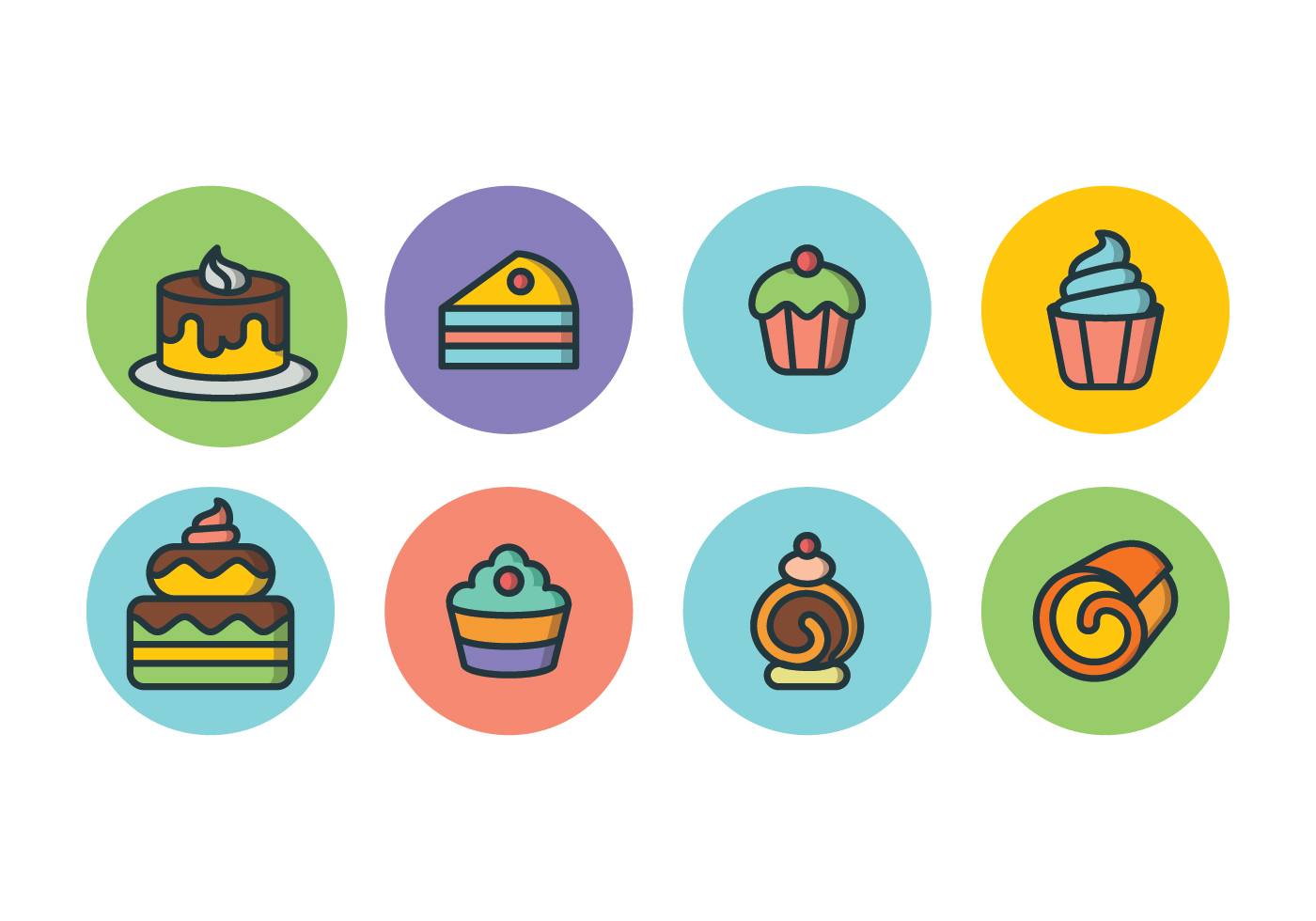 Free Cake Icon Set Download Free Vector Art Stock