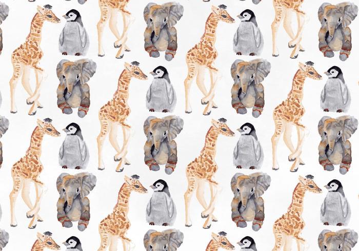 Patrón de animales acuarela vector libre