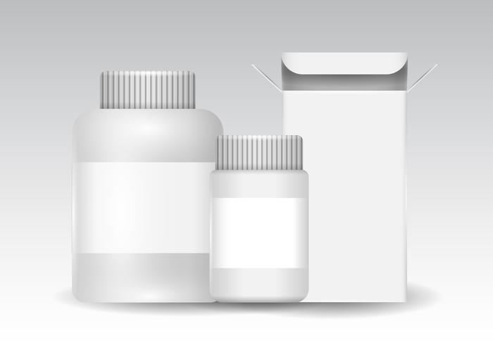 Free Plastic and Box Packaging for Pill, Cosmetic, and Vitamins Vector
