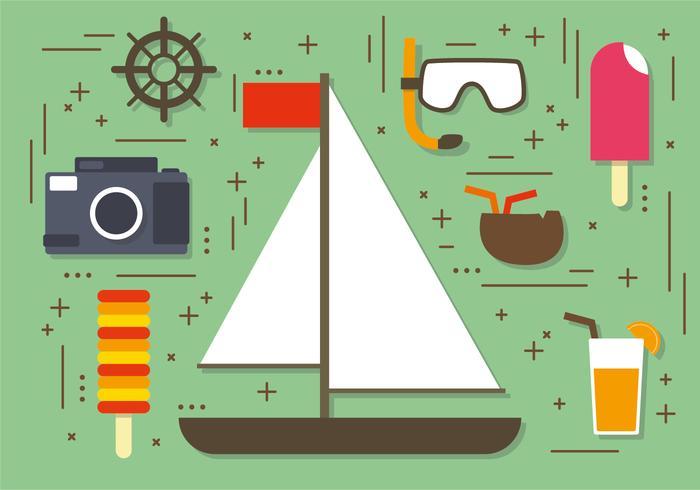 Flat Summer Sailboat Elements Vector