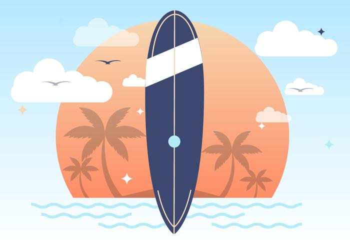 Sunset Summer Surfing Vector Background