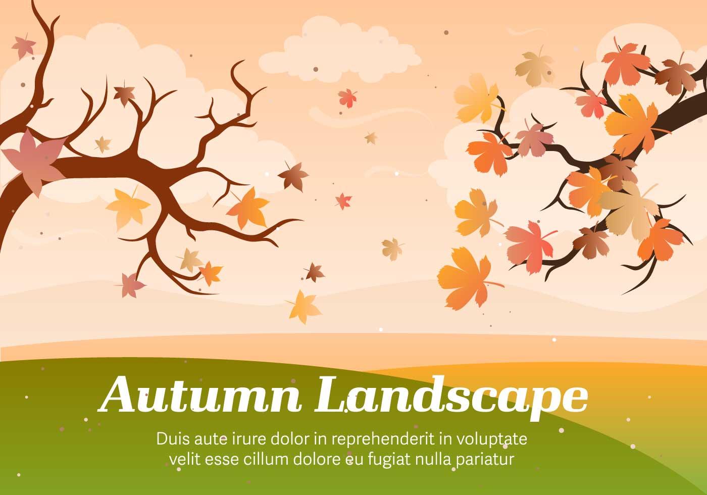 Landscape Illustration Vector Free: Autumn Landscape Vector Illustration