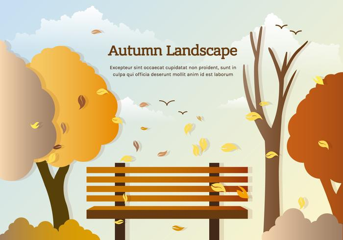 Vector Autumn Park Bench