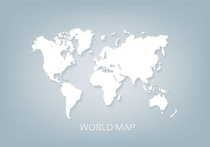 Mapa del mundo libre del vector blanco 3D