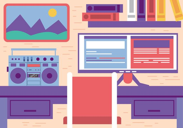Free Flat Vector Office Workspace