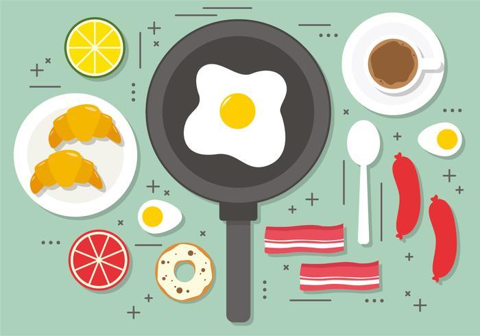 Flat Fried Egg Breakfast Vector Illustration