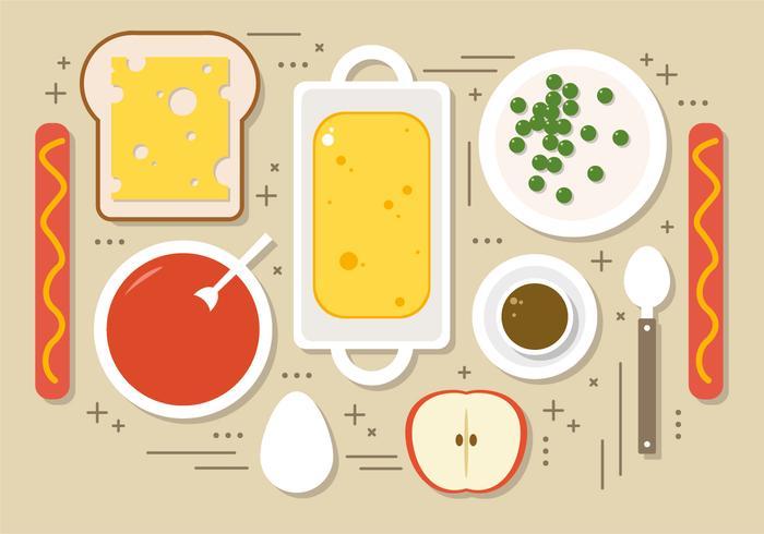 Alimentos planos ilustración vectorial vector