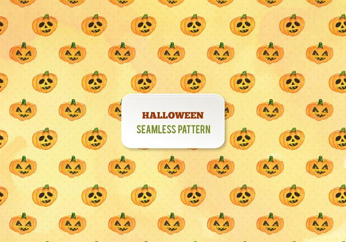 Free Vector Halloween Watercolor Pumpkins Pattern