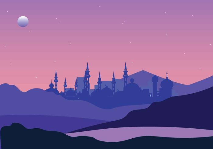 Gratis arabisk nattillustration vektor