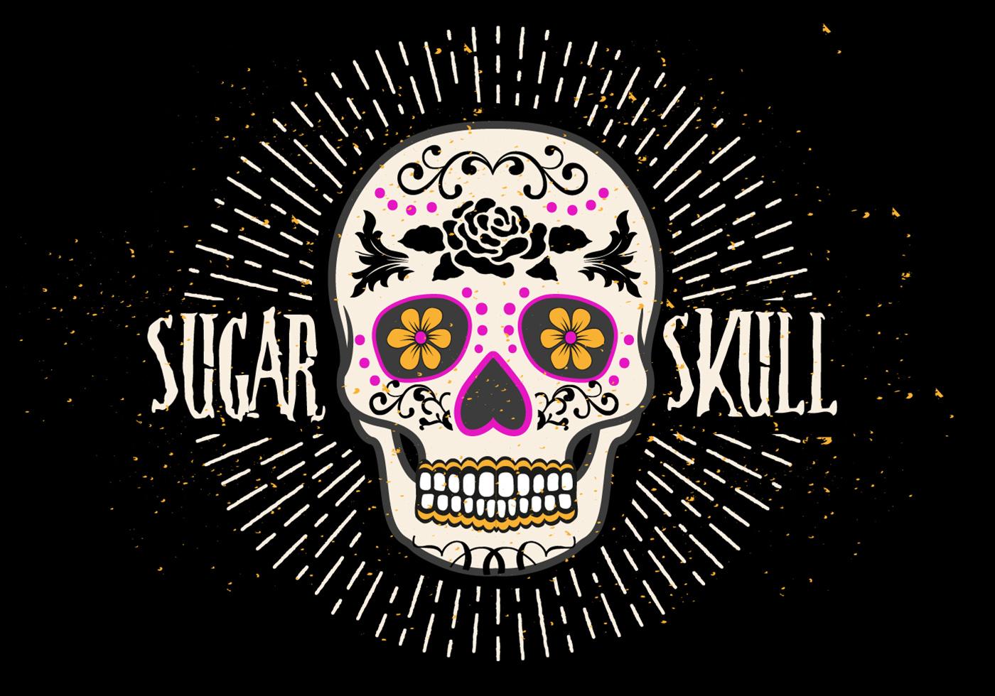 Bright Sugar Skull Vector Illustration Download Free