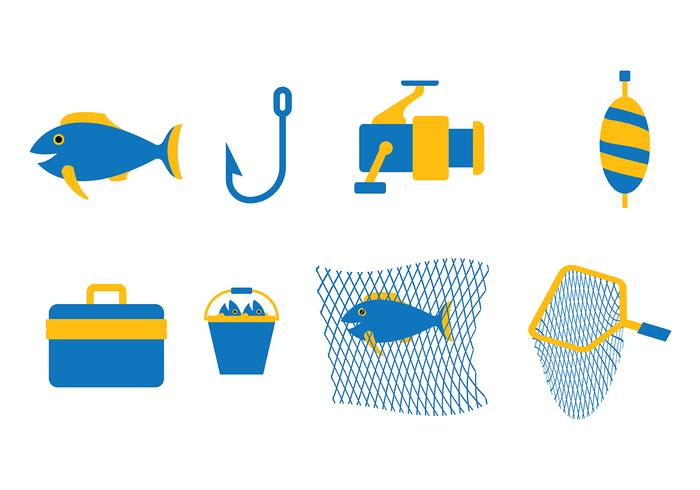 Blue Fishing Vector Set