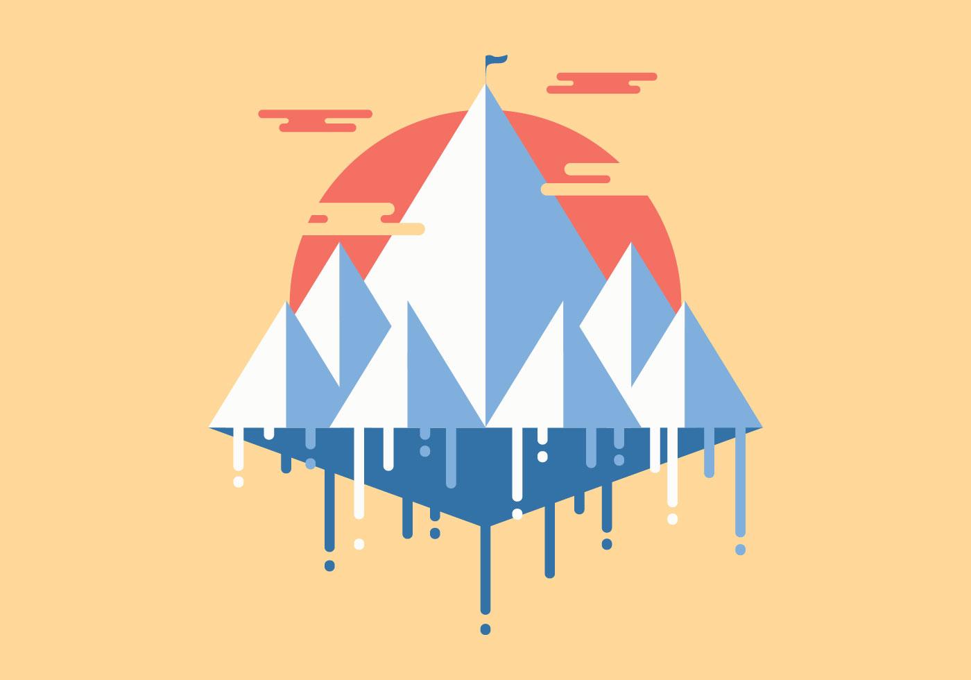 Everest flat minimalist illustration vector download for Minimal art vector