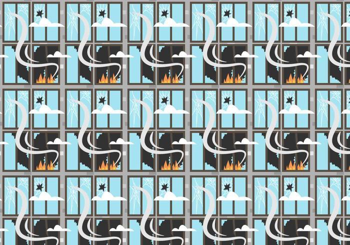 Fire and Broken Windows Pattern Vector
