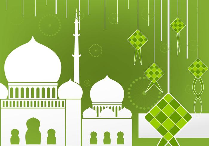 Flat design of Ketupat and Mosque