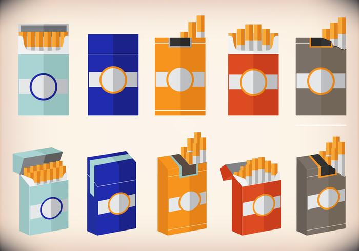 Cigarette pack design flat vector