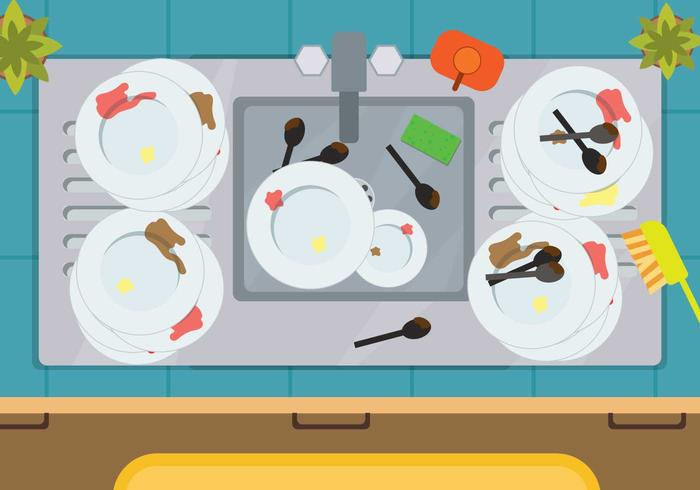 Free Dirty Dishes Illustration